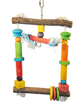 Natural Wood Swing w/ Rope-Happy Beaks